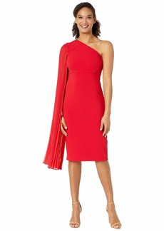 Tahari One Shoulder Crepe Sheath Dress with Dramatic Pleated Fly Away Sleeve