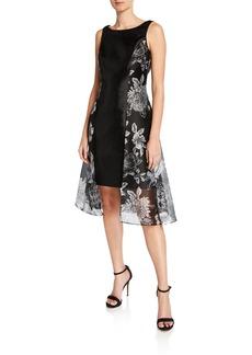Tahari Organza Overlay Fit-and-Flare Dress