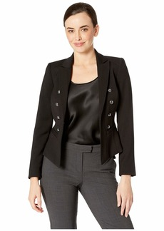 Tahari Peak Lapel Dome Button Kissing Jacket with Welt Pockets