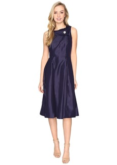 Tahari Pearl Brooch Tea-Length Fit & Flare Dress