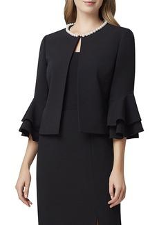 Tahari Pearl-Neck Ruffle-Sleeve Crepe Jacket