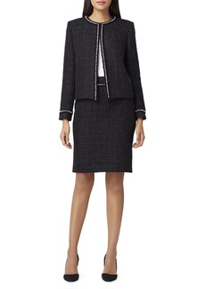 Tahari Pearl Trim Metallic Boucle Jacket