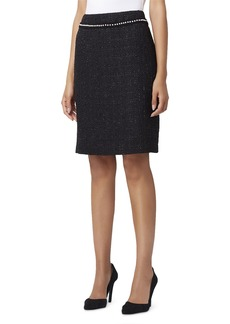 Tahari Pearl-Trim Metallic Boucle Pencil Skirt