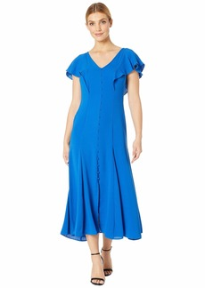 Tahari Pebble Crepe Flutter Sleeve Maxi Dress