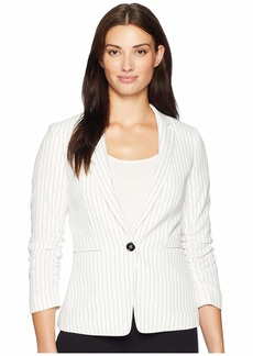 Tahari Pinstripe Ruched Sleeve One-Button Jacket