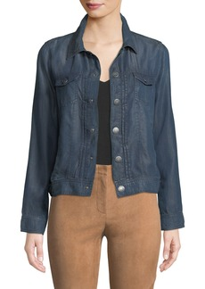 Tahari Pintucked Chambray Jacket