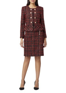 Tahari Plaid Faux Double-Breasted Jacket