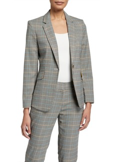 Tahari Plaid One-Button Blazer