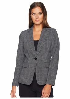 Tahari Plaid One-Button Jacket