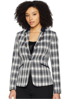 Plaid One-Button Jacket with Solid Pop Collar