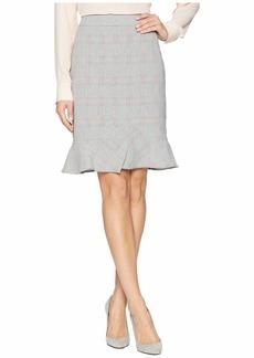 Tahari Plaid Pencil Skirt with Ruffle Hemline
