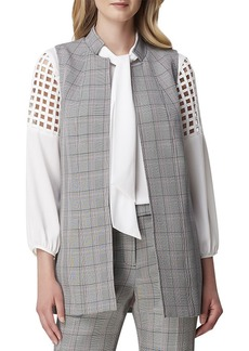 Tahari Plaid Stand-Collar Vest Topper
