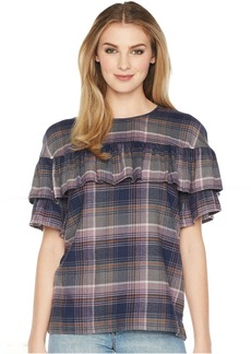 Plaid Top with Ruffle Overlay