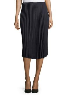 Tahari Pleated Crepe Midi Skirt