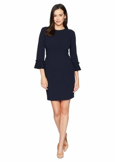 Tahari Pleated Sleeve Crepe Dress