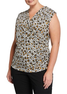 Tahari Plus Size Faux-Wrap Leopard-Print Top