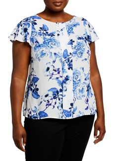 Tahari Plus Size Floral Pleated Front Top