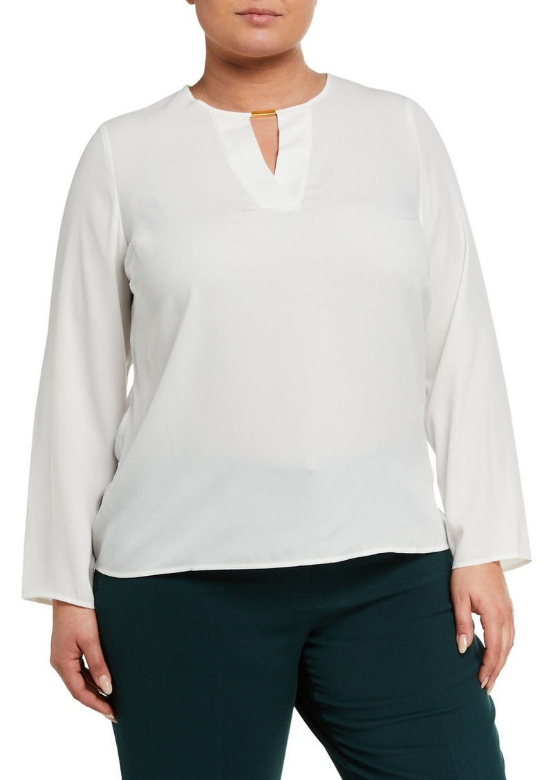 Tahari Plus Size Long-Sleeve Knit Top