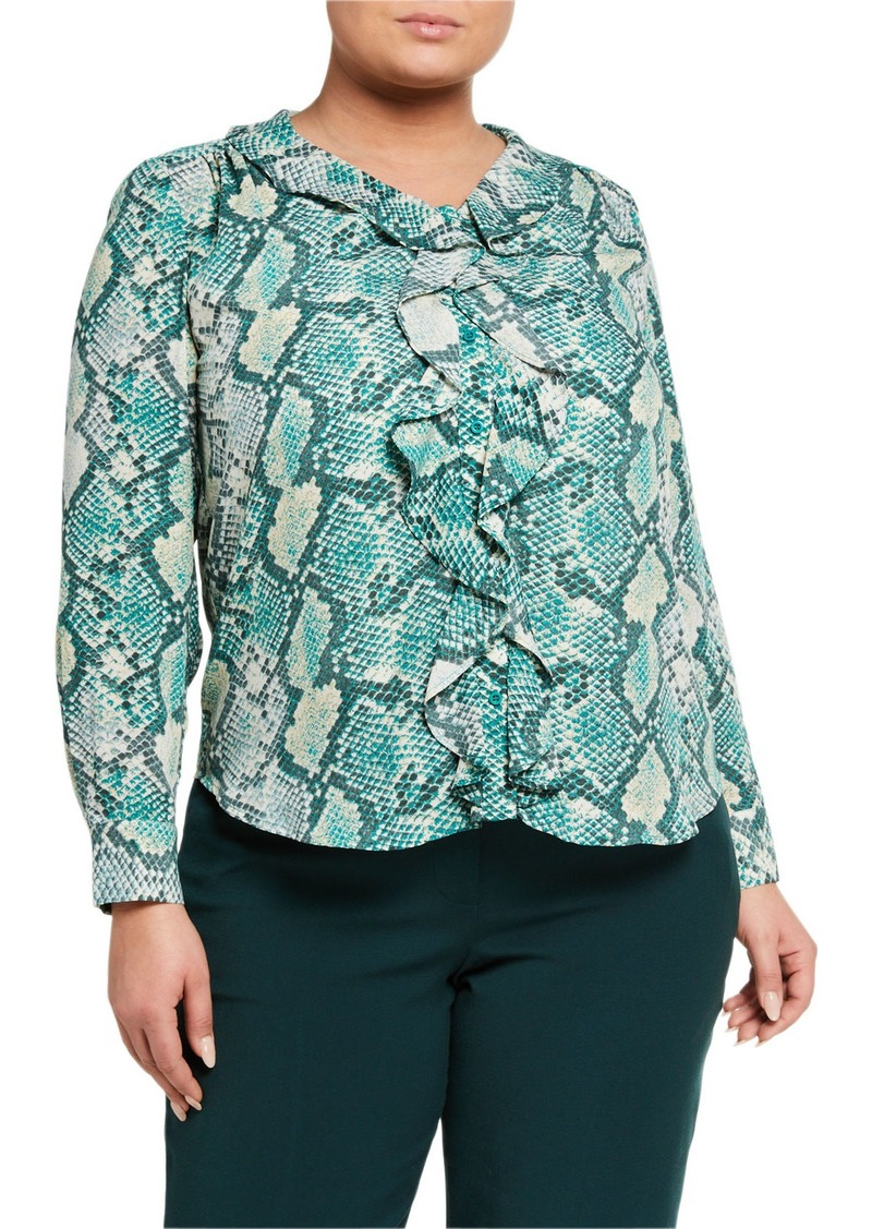 Tahari Plus Size Long-Sleeve Ruffle-Front Blouse