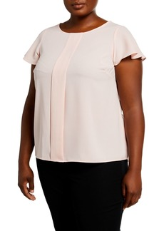 Tahari Plus Size Pleated Front Top