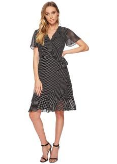 Tahari Polka-Dot Faux Wrap Dress