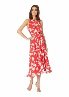 Tahari Printed Chiffon High-Low Dress with Keyhole Halter Neck