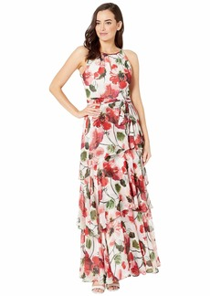 Tahari Printed Chiffon Tiered Ruffle Maxi Dress