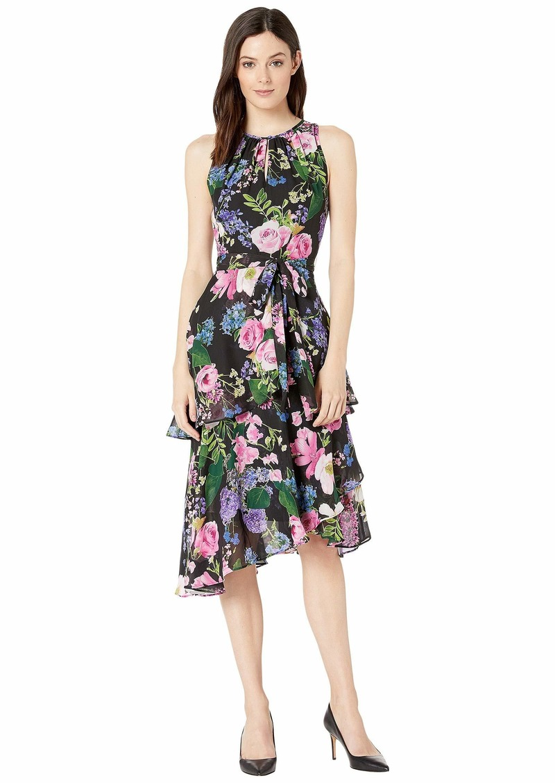 Tahari Printed Floral Chiffon Dress with Cascade Skirt