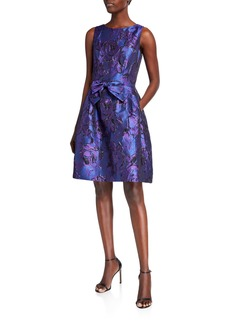 Tahari Printed Jacquard Bow-Front  Dress
