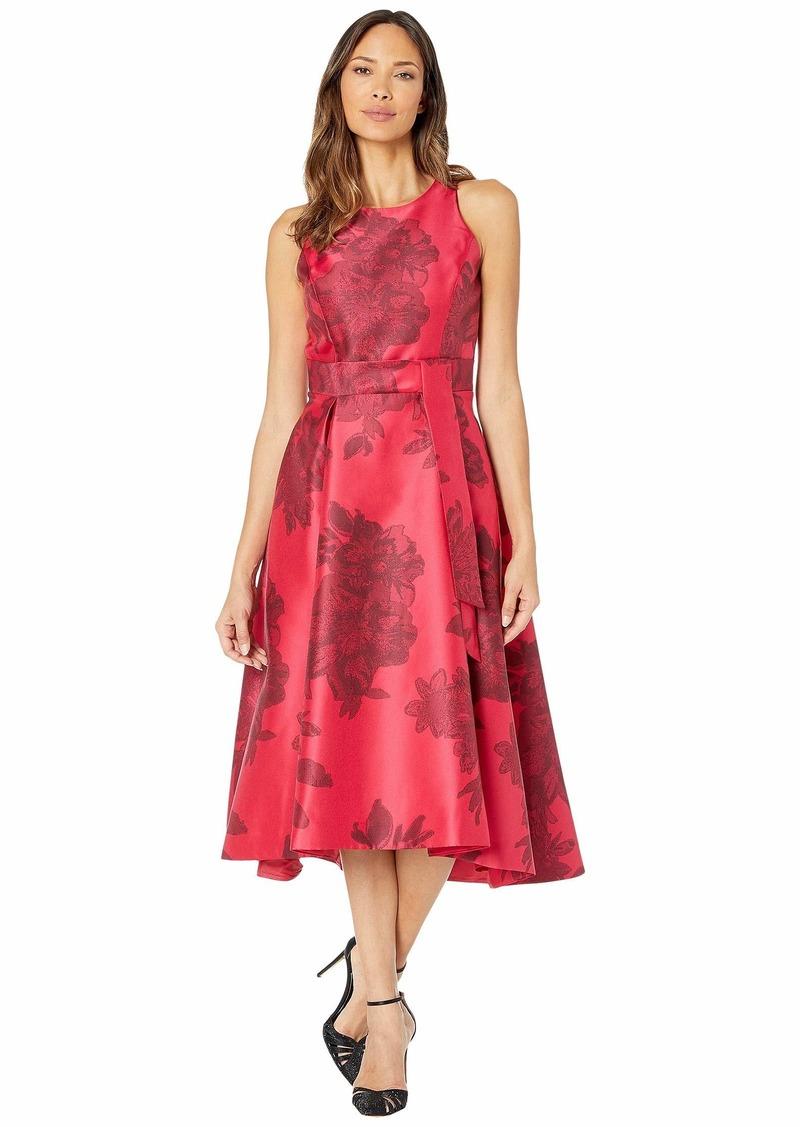 Tahari Printed Jacquard Sleeveless Party Dress