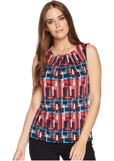 Tahari Printed Matte Jersey Sleeveless Top