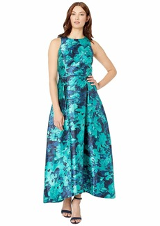 Tahari Printed Mikado High-Low Hem Dress