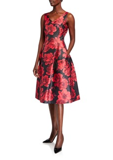 Tahari Printed Mikado Party Dress
