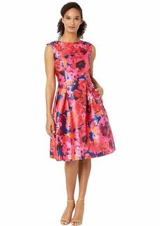 Tahari Printed Mikado Sleeveless Party Dress