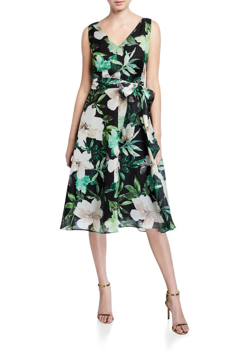 Tahari Printed Organza Party Dress