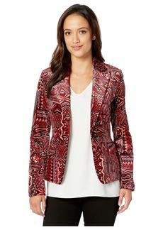 Tahari Printed Paisley Velvet Jacket