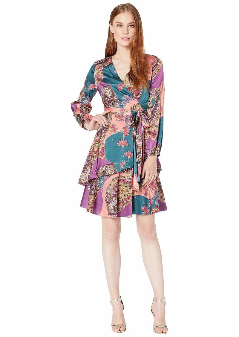 Tahari Printed Satin Georgette Dress with Tiered Skirt Detail