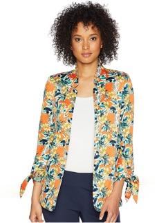 Tahari Printed Satin Tie Sleeve Jacket