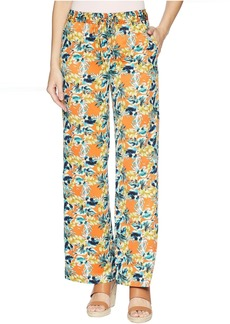 Tahari Printed Satin Tie Waist Wide Leg Pants