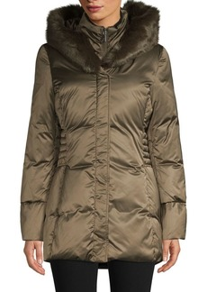Tahari Quilted Faux Fur-Trimmed Hooded Coat