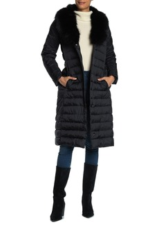 Tahari Quilted Puffer Faux Fur Collar Long Jacket