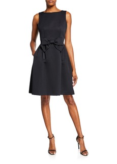 Tahari Ribbed Fit-and-Flare Dress w/ 3D Bow
