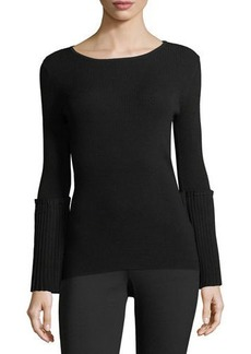 Tahari Ribbed-Knit Sweater w/Pleated Bell Sleeves
