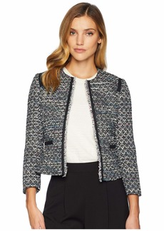 Tahari Round Neck Open Boucle Jacket with Contrast Shoulder and Pocket Trim
