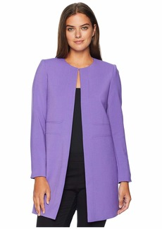Tahari Round Neck Open Topper with Seam Detailing