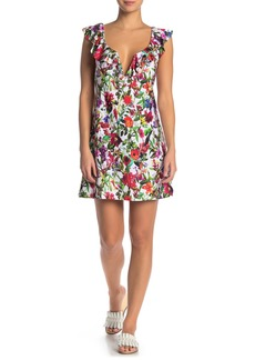 Tahari Ruffle V-Wire Floral Print Cover-Up Dress