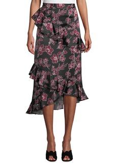 Tahari Ryann Floral Asymmetric Ruffle Skirt