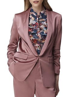 Tahari Satin Scrunch-Sleeve Jacket