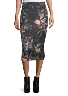 Scuba-Knit Watercolor Midi Skirt