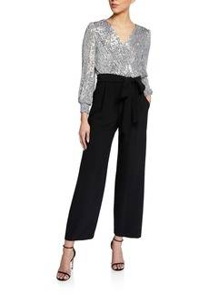 Tahari Sequin Faux Wrap Jumpsuit